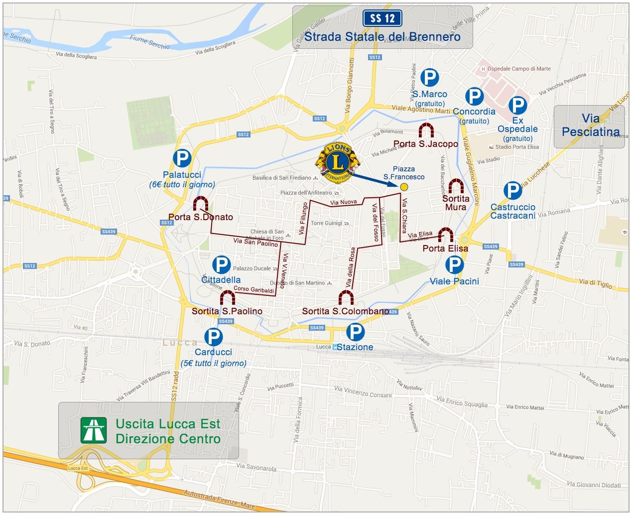 Mappa per i parcheggi